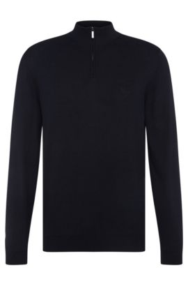 Regular-fit sweater in cotton with band collar: 'Igor', Dark Blue