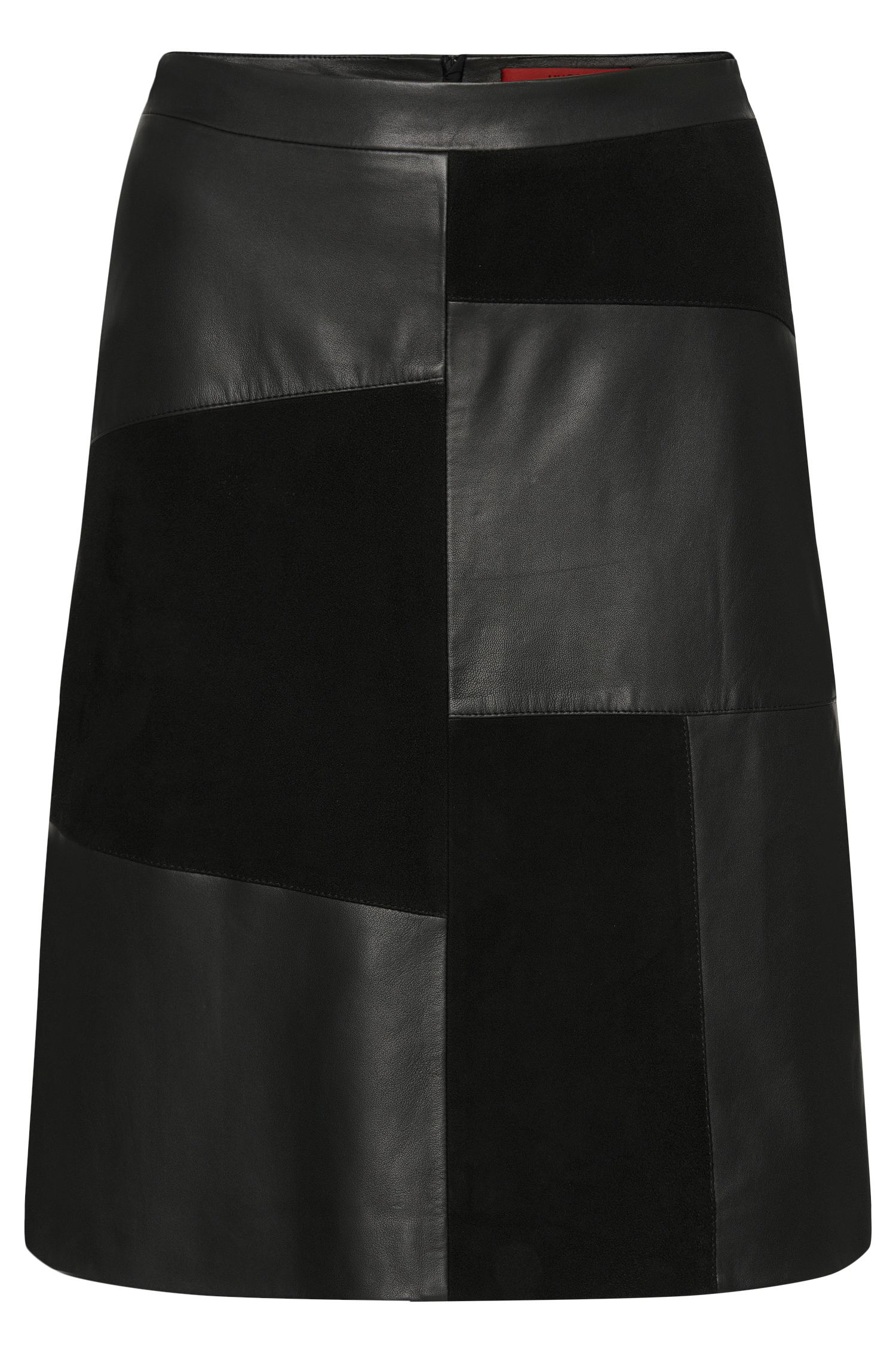 Leather skirt in patchwork design: 'Linnja'