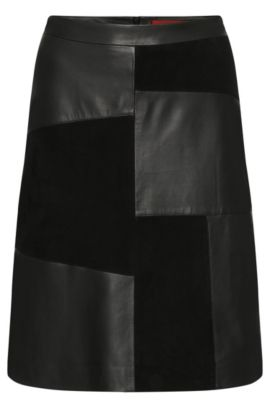 Leather skirt in patchwork design: 'Linnja', Black