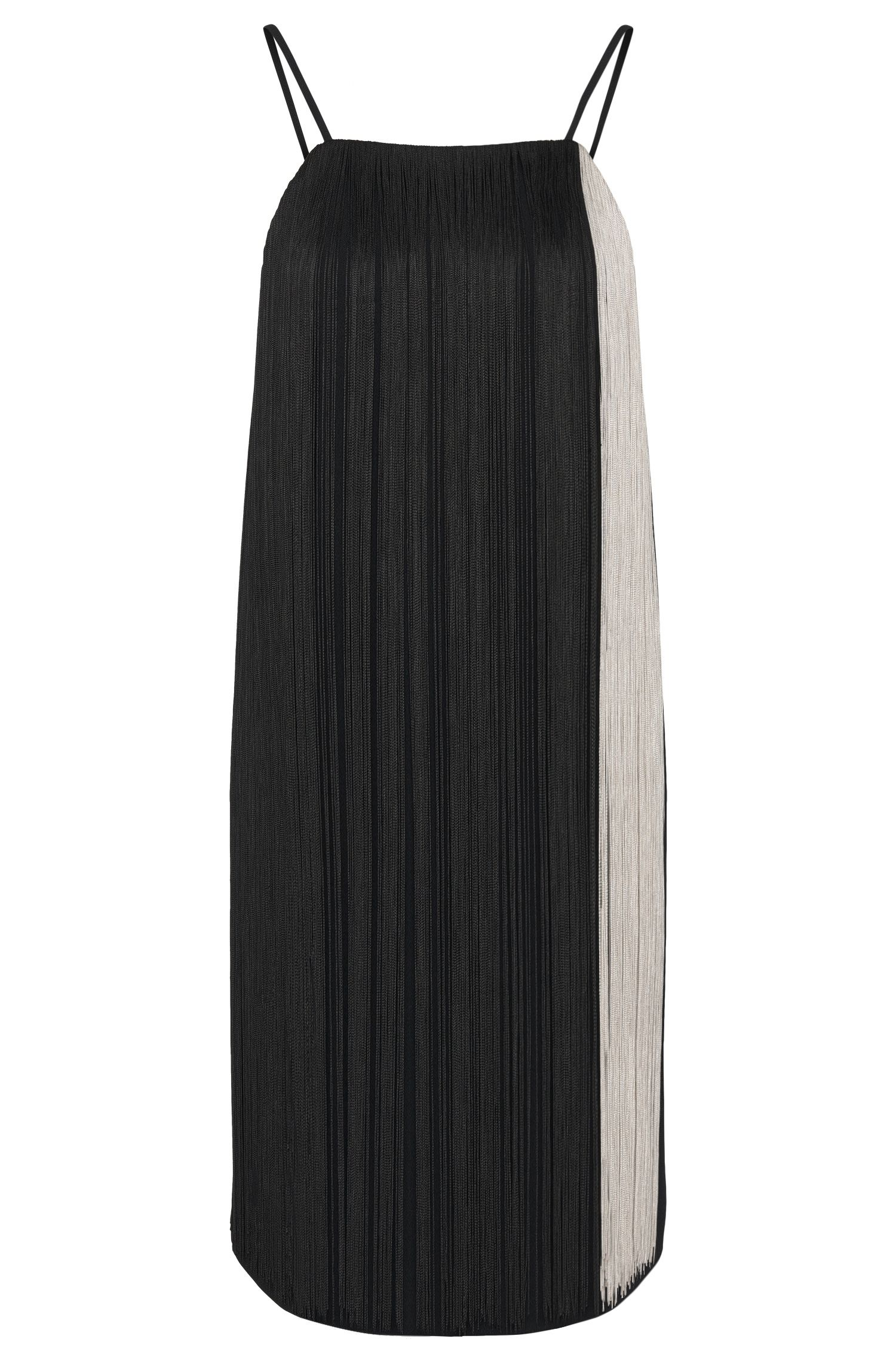 Strap dress with fringed trim: 'Dafryna'