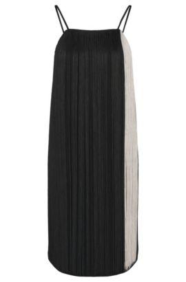 Jurk met schouderbandjes en franjes: 'Dafryna', Zwart