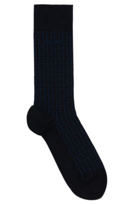 Gemusterte Socken aus elastischem Baumwoll-Mix: 'RS Design', Dunkelblau