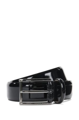 Tailored patent leather belt with nubuck lining: 'T-Lelio_Sz35_pa', Black