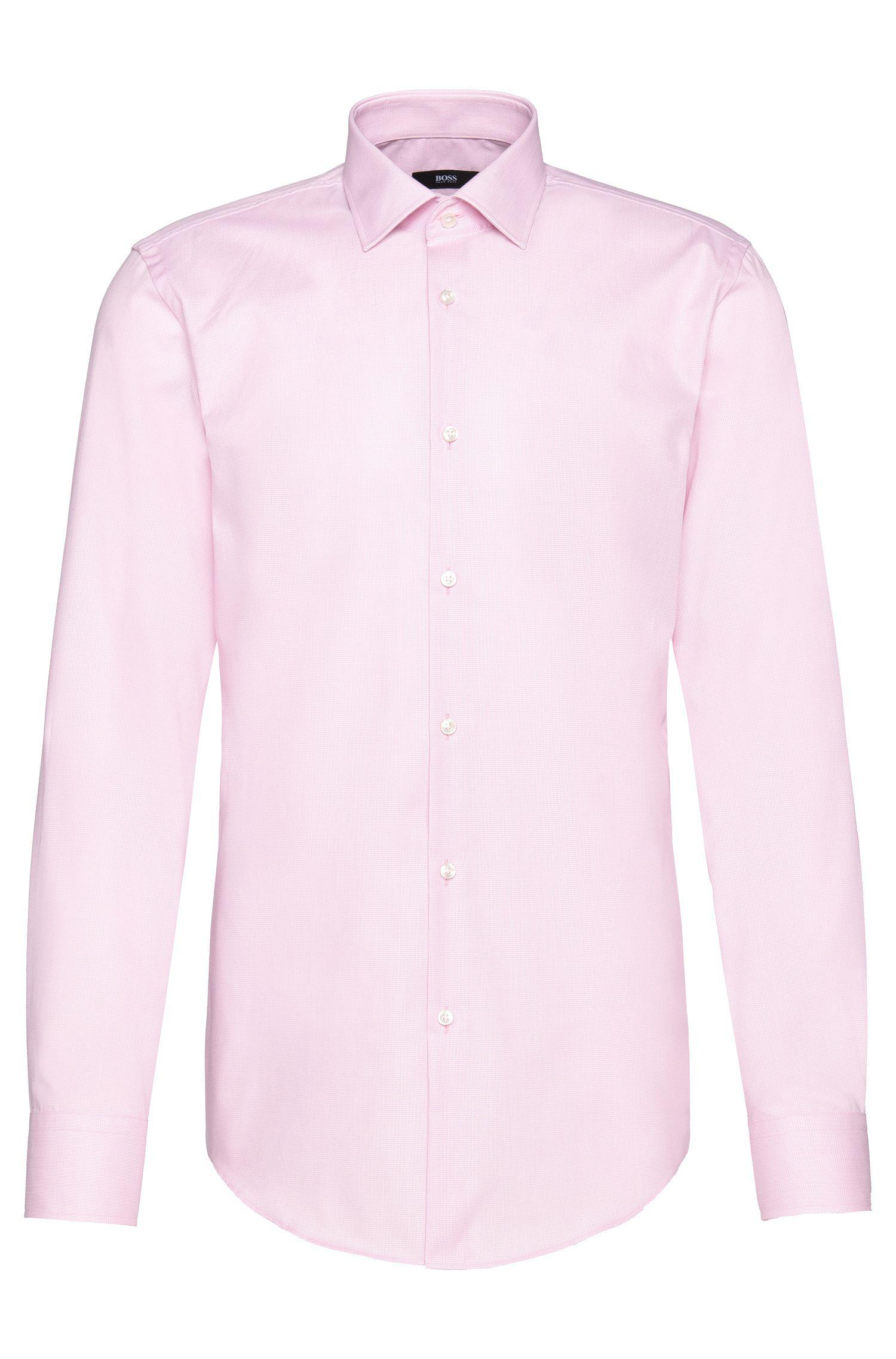 Camicia slim fit Travel Line in cotone a quadri sottili: 'Jenno'