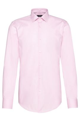 Finely checked slim-fit Travel Line shirt in cotton: 'Jenno', light pink