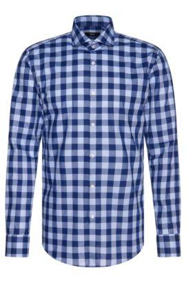 Chemise Slim Fit à carreaux en coton: «Jason», Bleu foncé