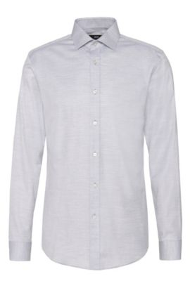 Chemise Slim Fit en coton chiné : « Isaak », Gris chiné