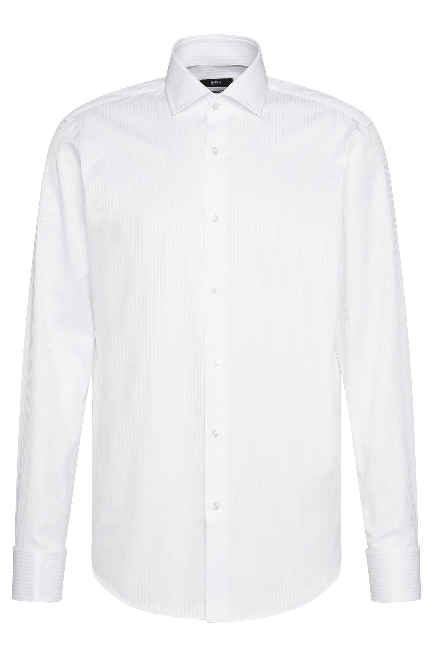 Regular-fit shirt in cotton with turn-back cuffs: 'Gardner'