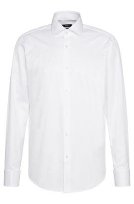 Camicia regular fit in cotone dotata di polsini con risvolto: 'Gardner', Bianco