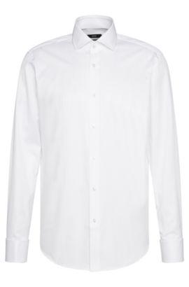 Regular-fit shirt in cotton with turn-back cuffs: 'Gardner', White