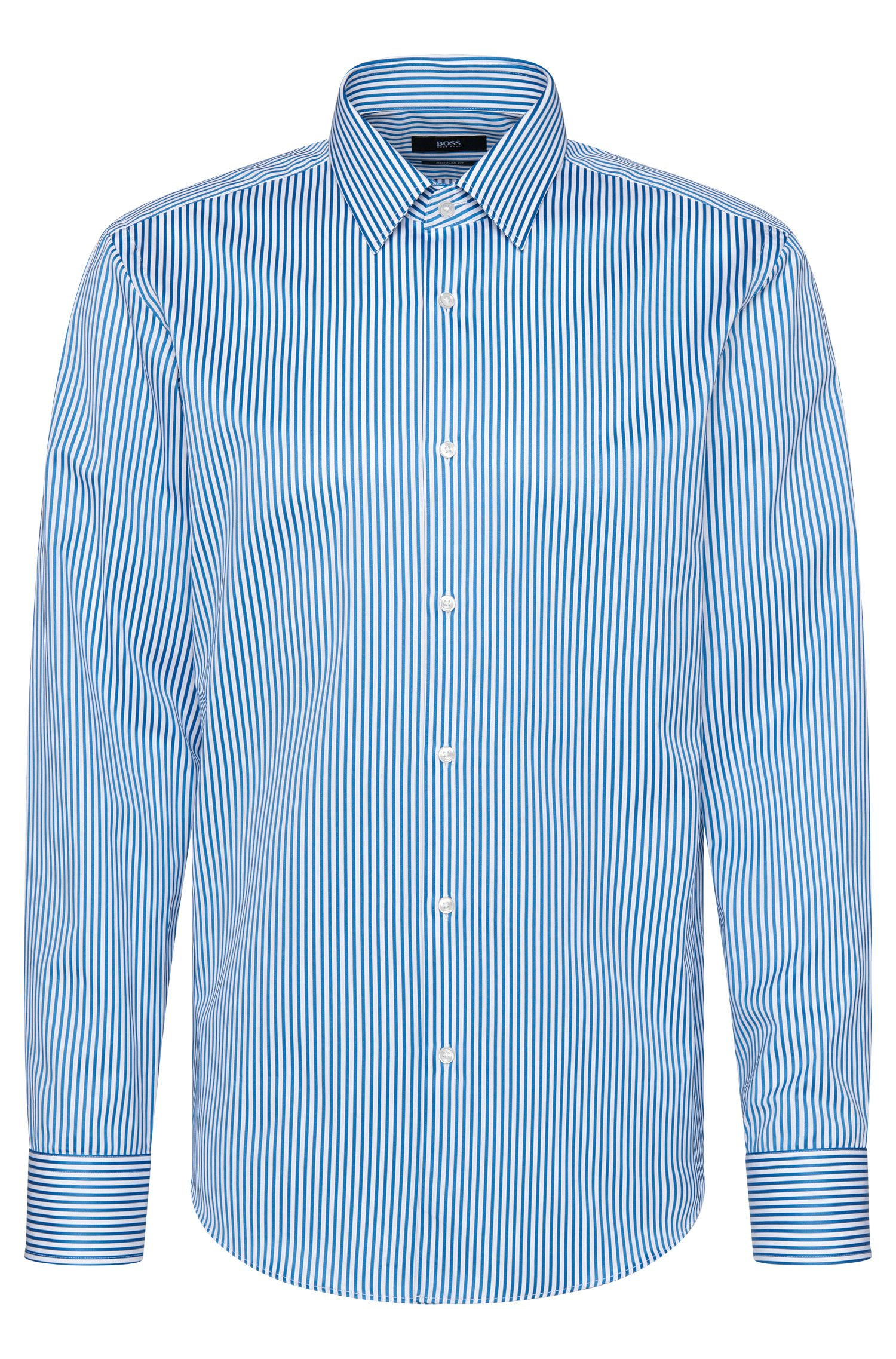 Striped regular-fit shirt in cotton: 'Enzo'