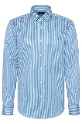 Striped regular-fit shirt in cotton: 'Enzo', Turquoise