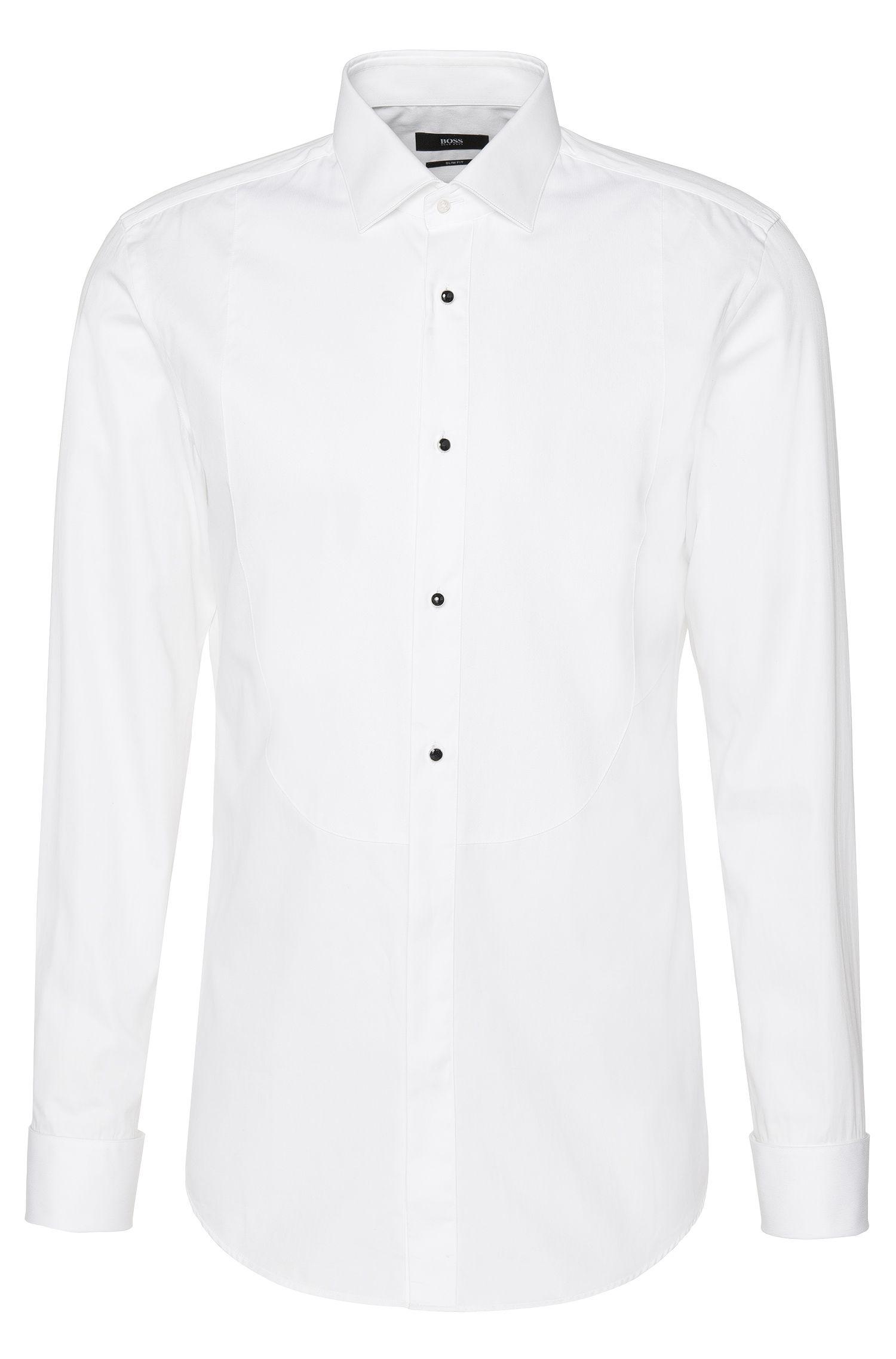 Slim-fit overhemd van katoen met plastron en omgeslagen manchetten: 'Jant'