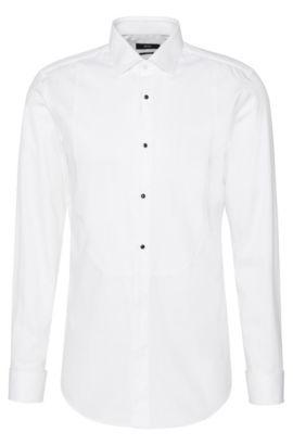 Chemise Slim Fit en coton avec plastron et poignets mousquetaires: «Jant», Blanc