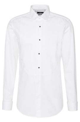 Slim-fit shirt in cotton with Ascot tie insert and turn-back cuffs: 'Jant', White