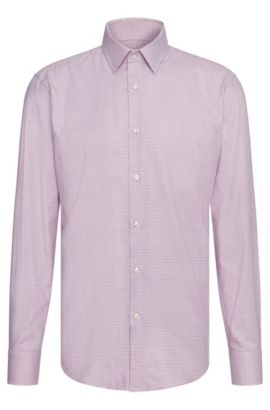 All-over patterned regular-fit shirt in cotton: 'Enzo', Light Purple