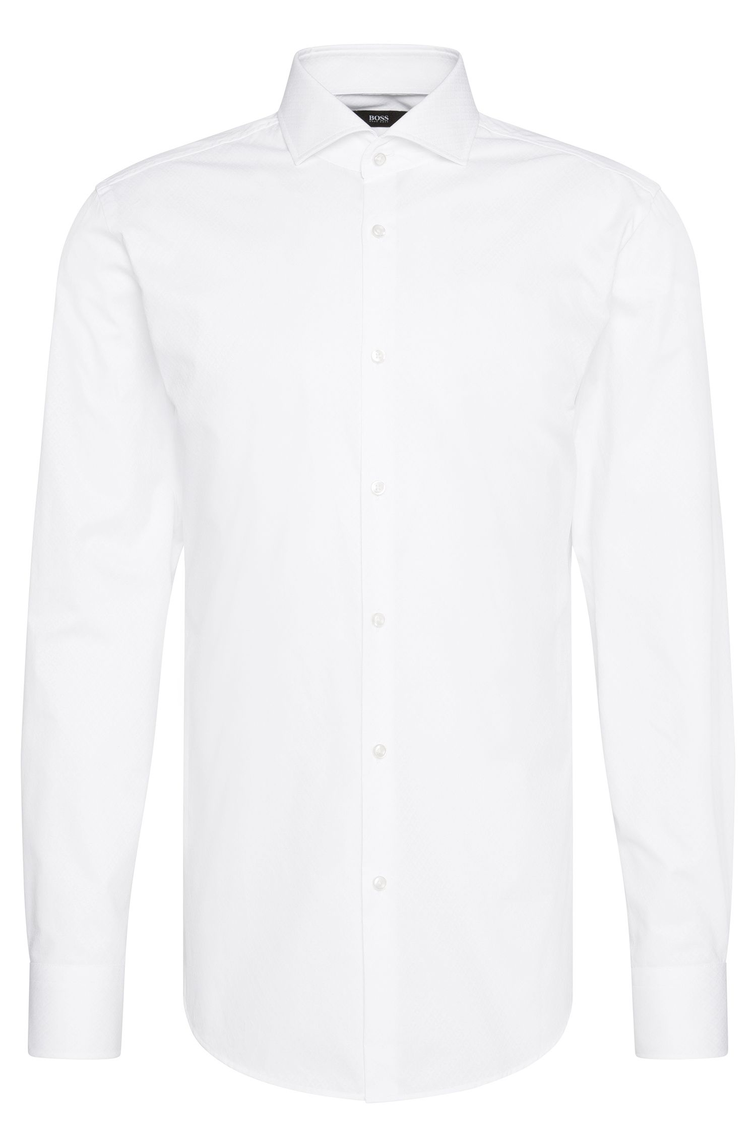 Chemise Slim Fit en coton finement structuré : « Jason »