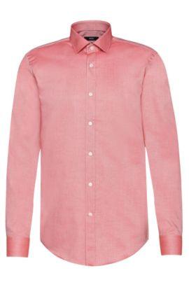 Camisa slim fit en algodón egipcio: 'Isaak', Rojo