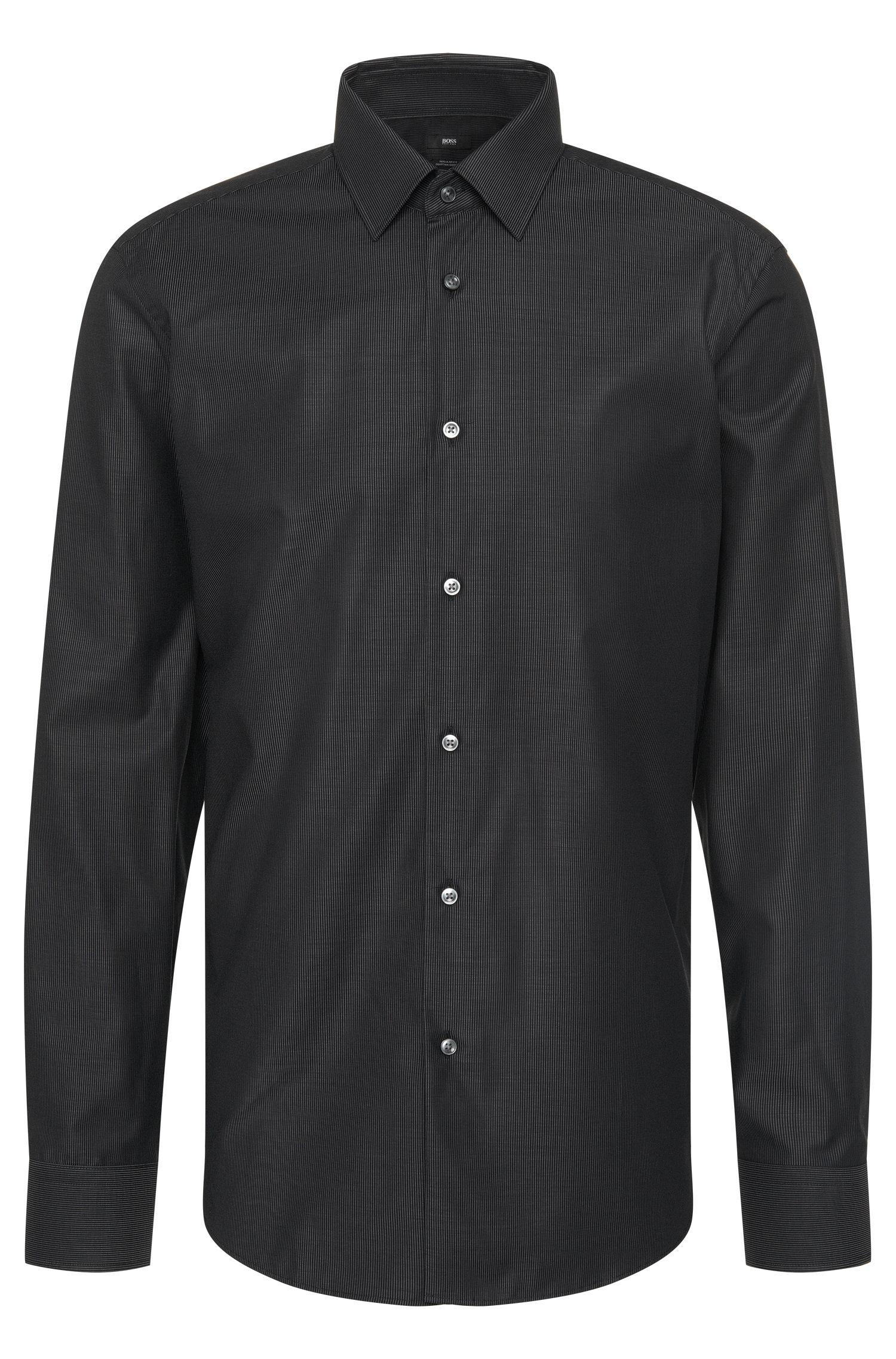 Camicia regular fit in cotone a righe sottili: 'Enzo'