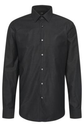 Camicia regular fit in cotone a righe sottili: 'Enzo', Nero