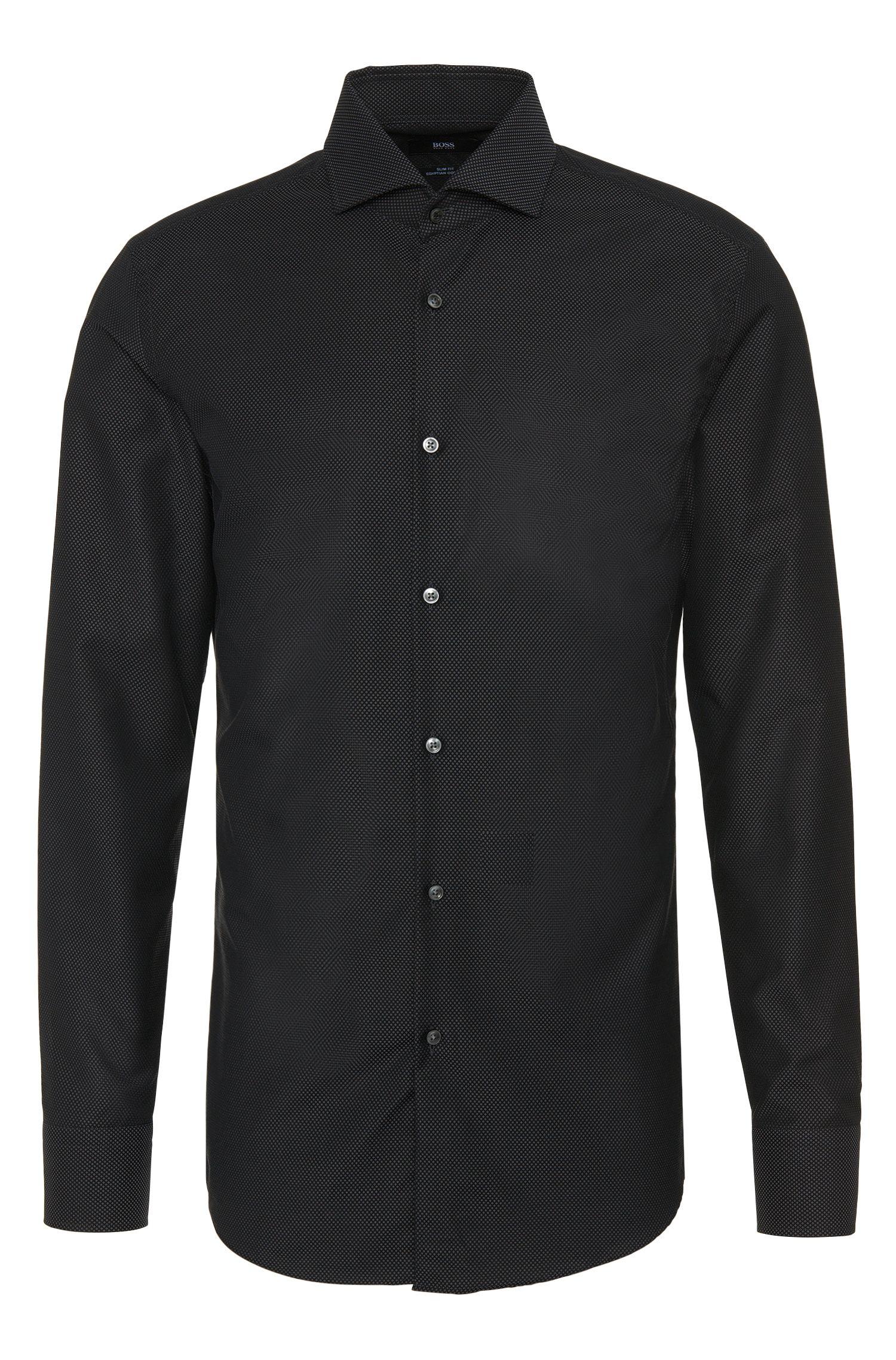 Camicia slim fit a disegni delicati in puro cotone: 'Jerrin'