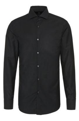 Camisa slim fit con estampado elegante en puro algodón: 'Jerrin', Negro