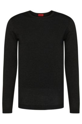Regular-fit sweater in new-wool blend in metallic look: 'Salex', Grey