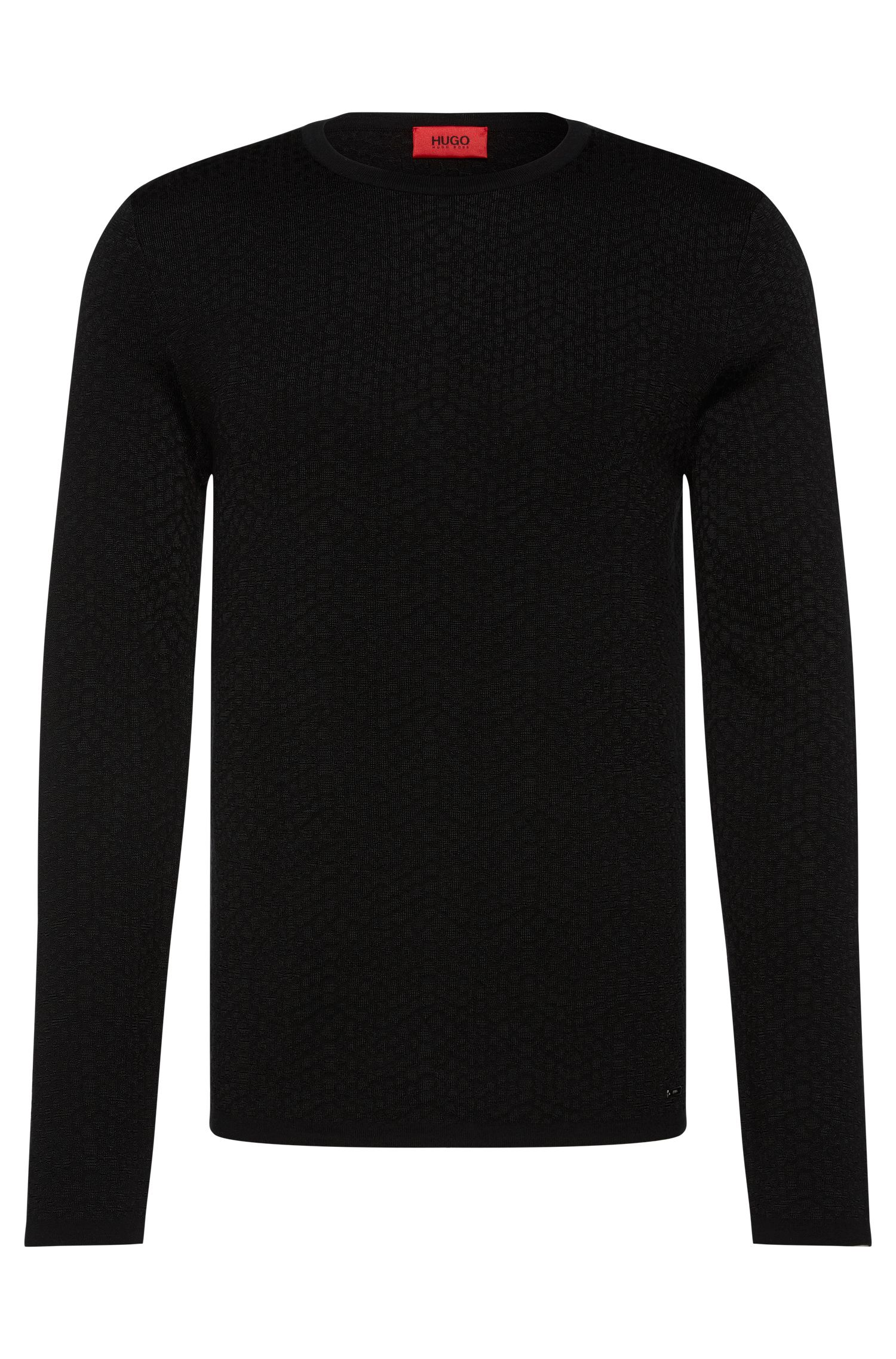 Slim-fit sweater in viscose blend with cotton and wool: 'Slangen'