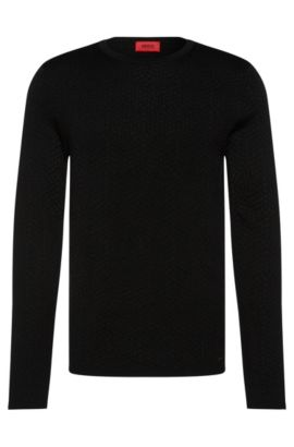Slim-fit sweater in viscose blend with cotton and wool: 'Slangen', Black