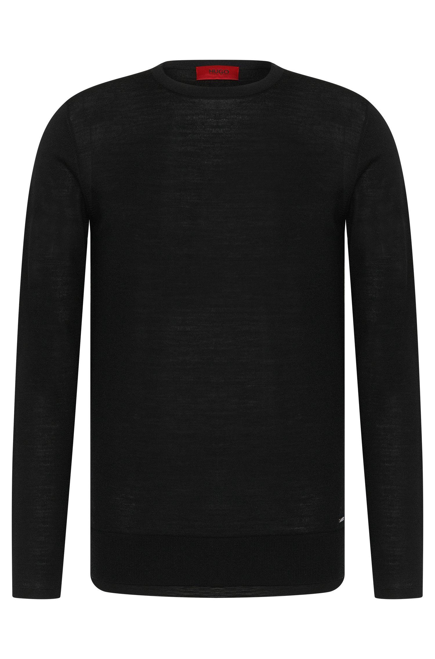 Pull Regular Fit en laine vierge mélangée doté de finitions en double épaisseur: «Souble»