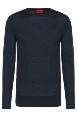 Pull Regular Fit en laine vierge mélangée doté de finitions en double épaisseur: «Souble», Bleu foncé