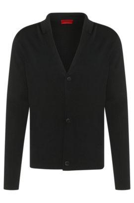 Chaqueta de punto regular fit en mezcla de viscosa con lana y algodón: 'Suton', Negro