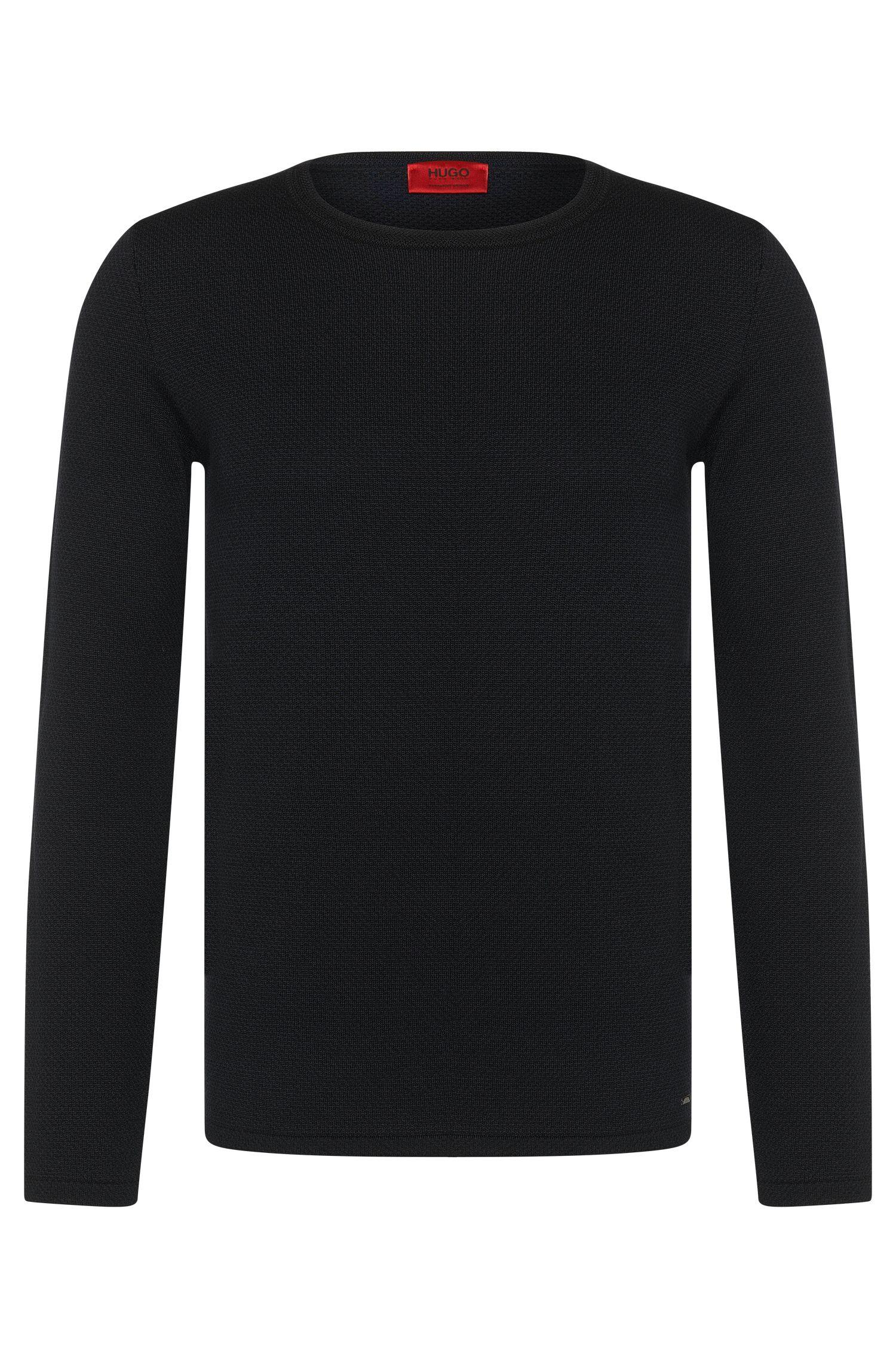 Maglione loose fit in lana vergine con motivo jacquard bicolore: 'Shevro'