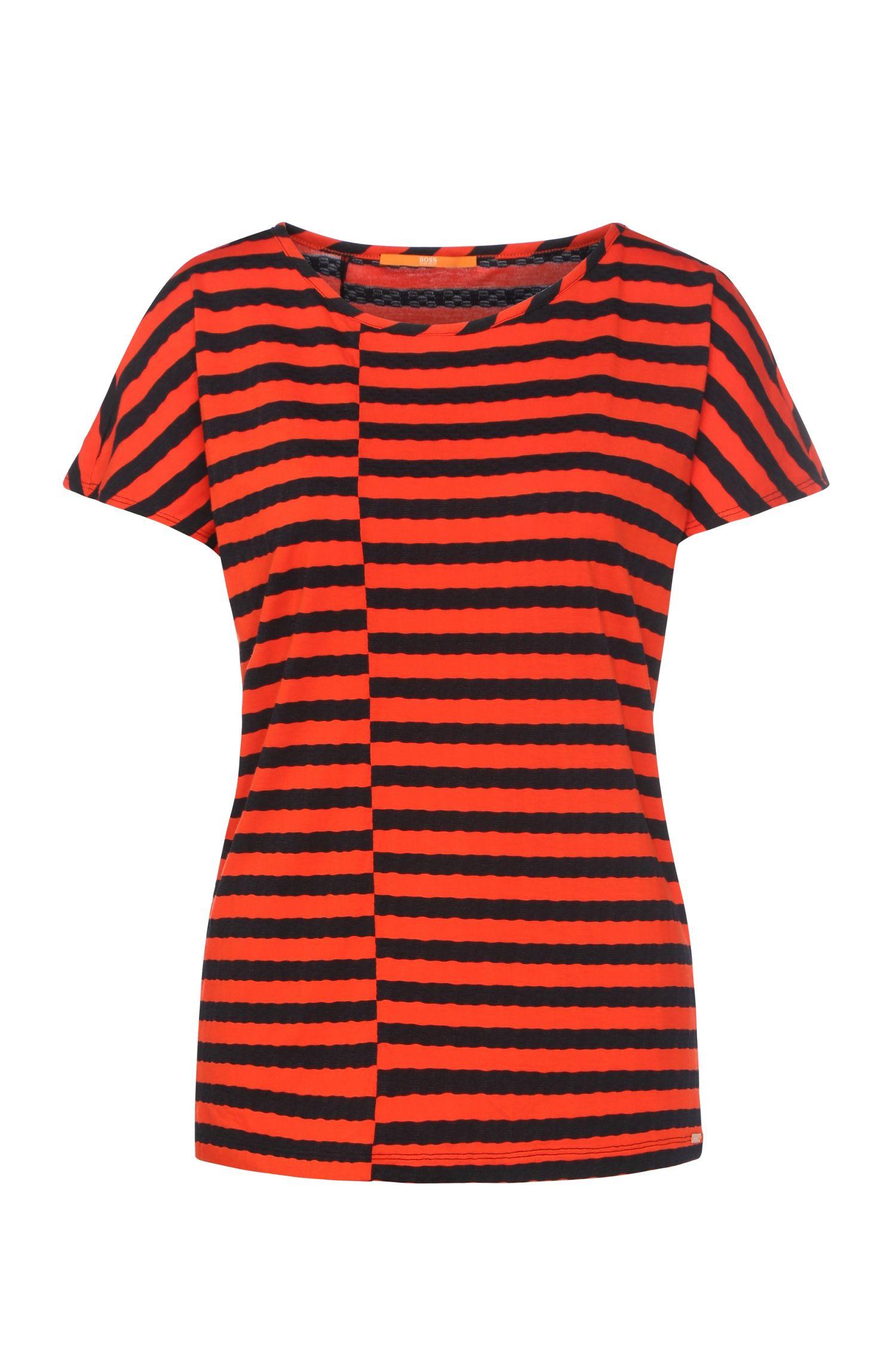 T-shirt Regular Fit à rayures en viscose mélangée: «Treifen»