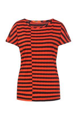 Gestreept regular-fit T-shirt van een viscosemix: 'Treifen', Bedrukt