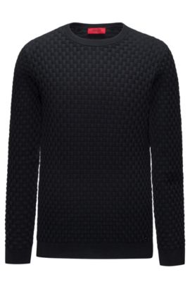 Cotton crew-neck sweater with a chunky textured weave, Black