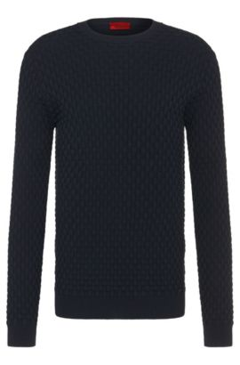 Regular-fit sweater in cotton with all-over texture: 'Subon', Dark Blue