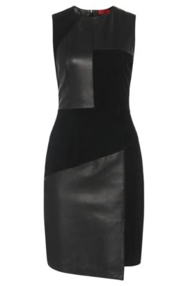 Leather dress in patchwork design with texture mix: 'Lisella', Black