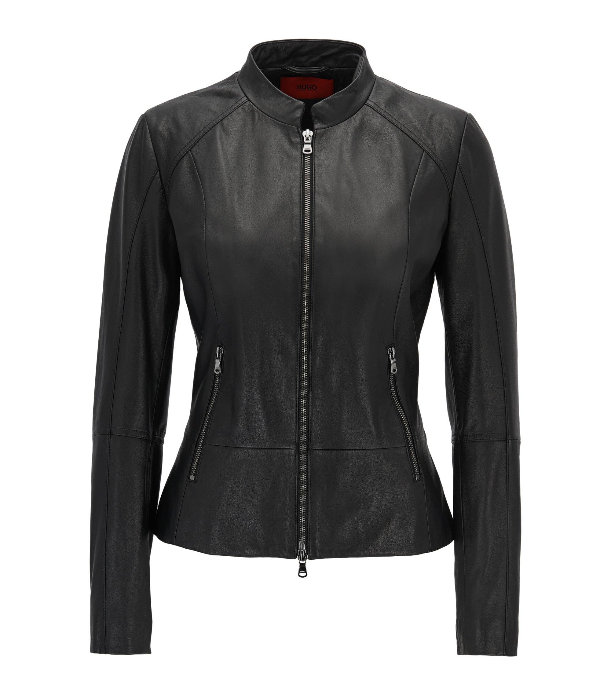 Regular-Fit Lederjacke mit Reißverschluss-Details, Schwarz