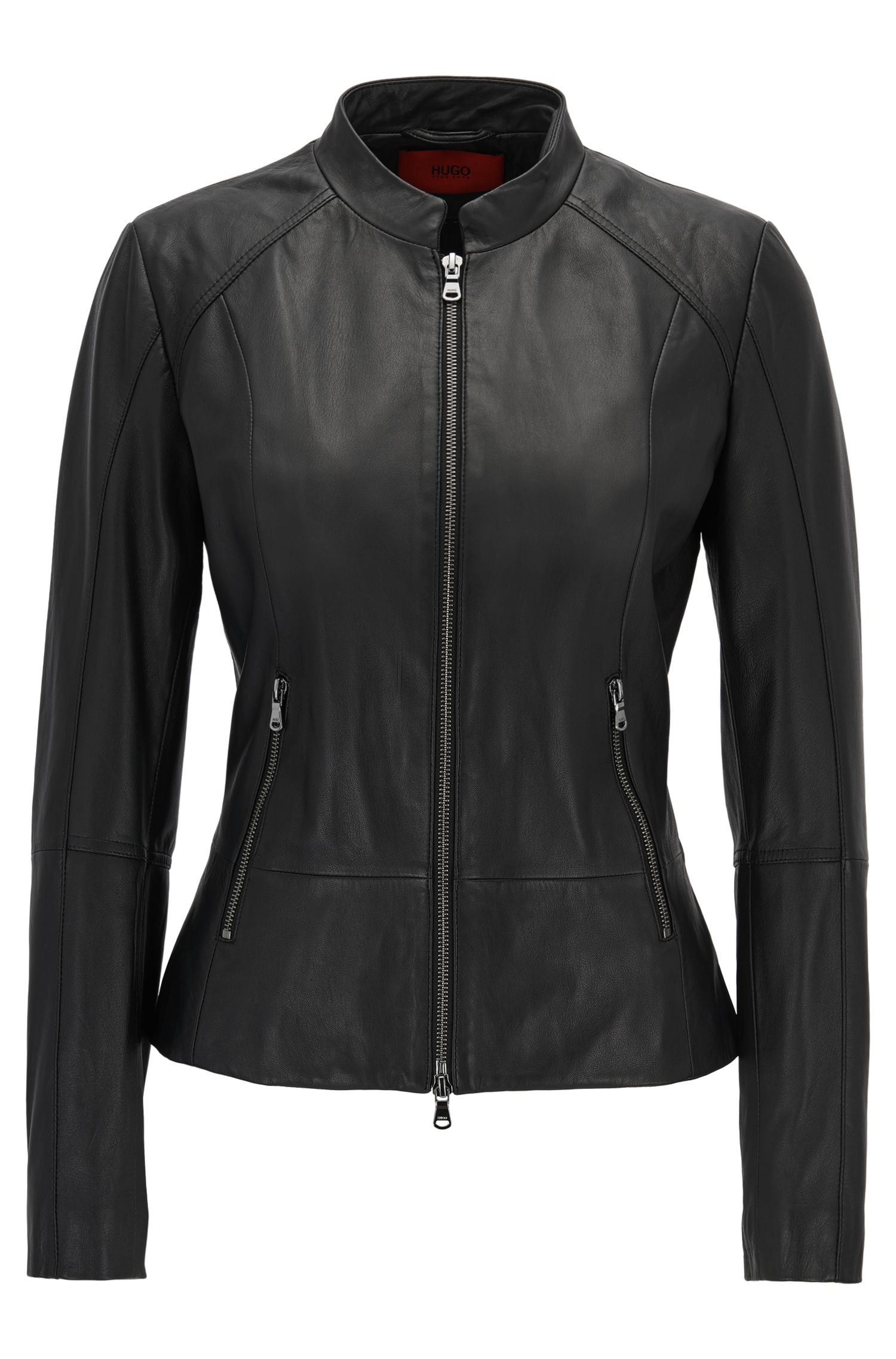 Leather jacket with metal zip detailing: 'Lalinas'