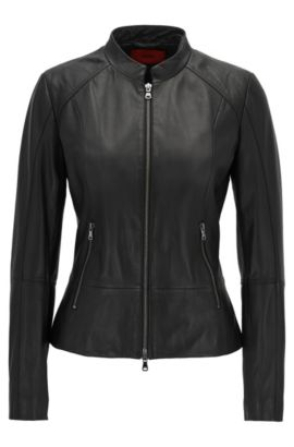 Leather jacket with metal zip detailing: 'Lalinas', Black