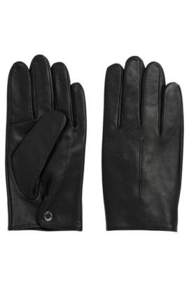 Handschuhe aus Leder mit Druckknopfverschluss: 'Harol', Schwarz