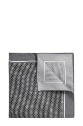 Finely checked pocket square in silk: 'Pocket sq. 33x33 cm', Black