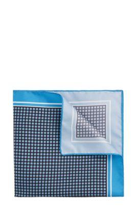 Pañuelo de bolsillo de seda con puntos: 'Pocket sq. 33x33 cm', Azul oscuro