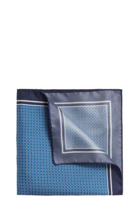 Gestippelde pochet van zijde: 'Pocket sq. 33x33 cm', Lichtblauw