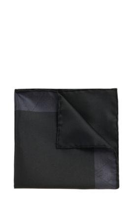 Dezent gemustertes Tailored Einstecktuch aus Seide: 'T-Pocket sq. cm33x33', Schwarz