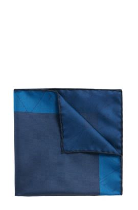 Pochette da taschino Tailored in seta a disegni delicati: 'T-Pocket sq. 33 x 33 cm', Turchese