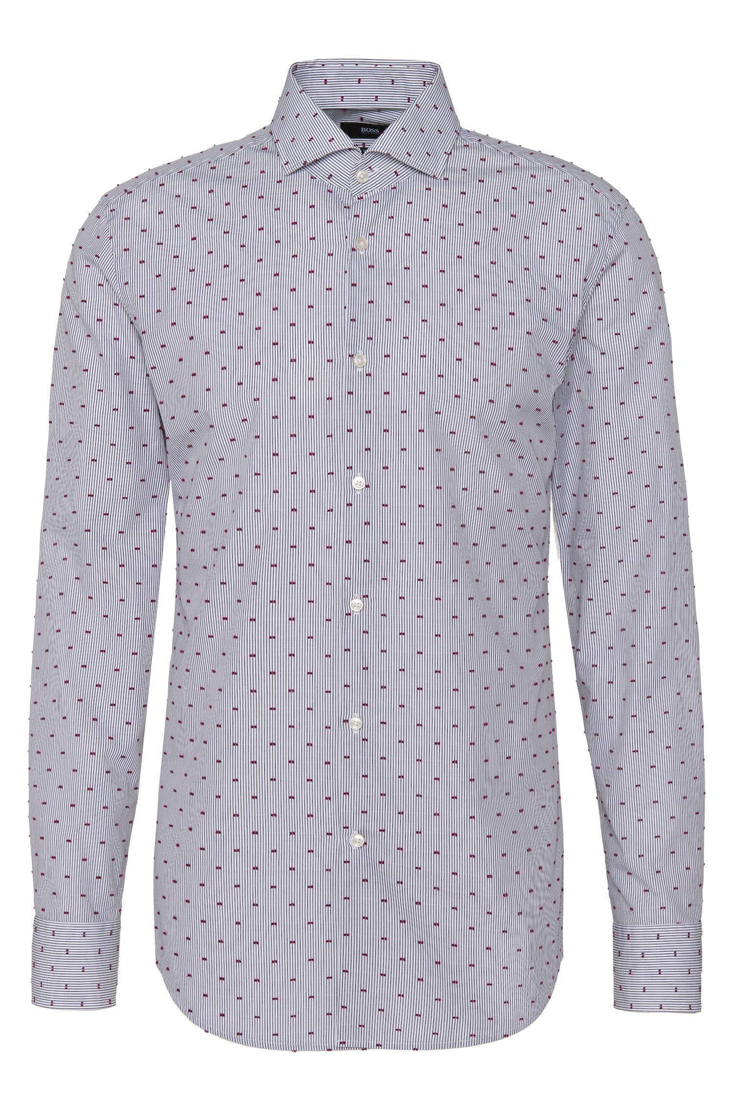 Besticktes Slim-Fit Hemd aus reiner Baumwolle: 'Jason'
