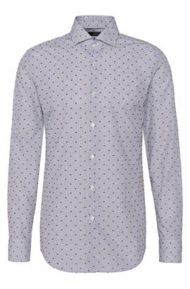 Besticktes Slim-Fit Hemd aus reiner Baumwolle: 'Jason', Dunkelgrau