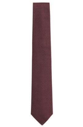 Corbata de la línea Tailored con fino estampado en seda: 'T-Tie 7,5 cm', Púrpura oscuro